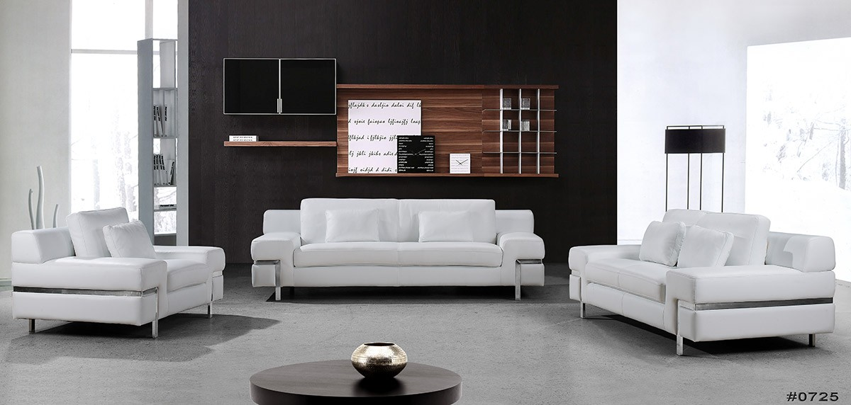 Luxury Clef Modern White Leather Sofa Set contemporary white leather sofa