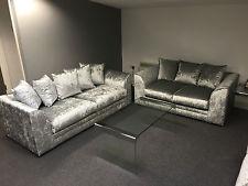Luxury Dylan/Chicago 2 Seater Sofa Crushed Velvet/Shimmer/Glitz Silver-Cheapest On crushed velvet sofa