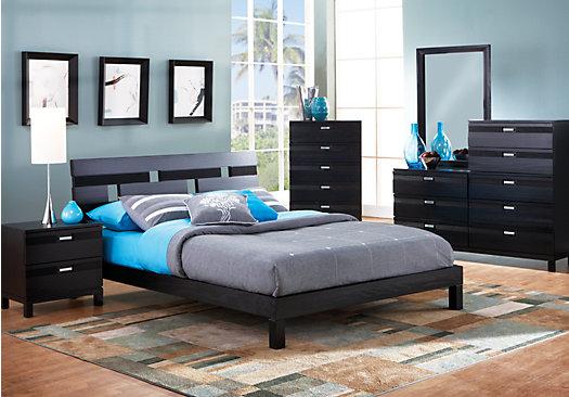 Luxury Gardenia Black 5 Pc Queen Platform Bedroom black bedroom sets queen