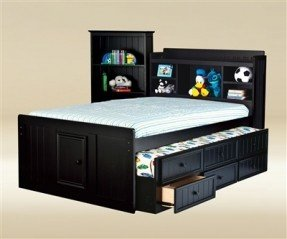 Luxury Good Trading Black full size captains trundle bed Kids Bedroom full size bed for kids