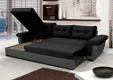 Luxury NEW Corner Sofa Bed With Storage, Black Fabric + Grey Leather. Very  Corner