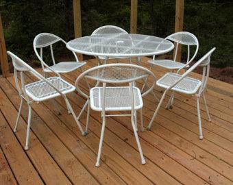 Luxury ON HOLD - Vintage Patio Furniture/Folding Rid-Jid Mid-Century modern metal  furniture set outdoor metal furniture sets