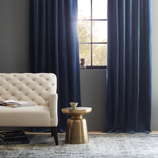 Luxury Scroll to Next Item blue velvet curtains