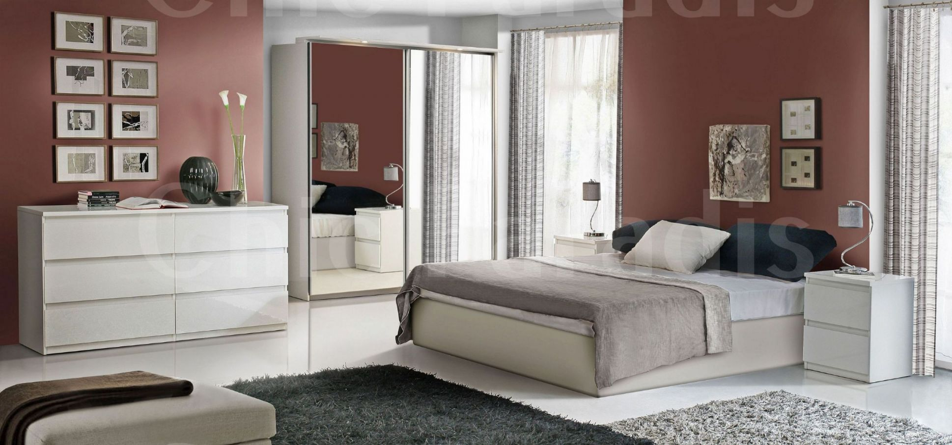 Create an exotic look to your bedroom with high gloss for White gloss bedroom furniture