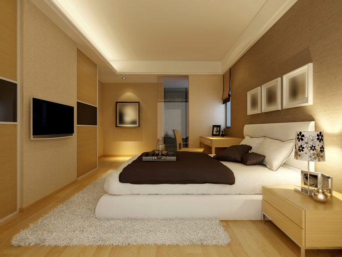 Awesome Large light brown bedroom with white rug and bed, light wood furniture and master bedroom furniture designs