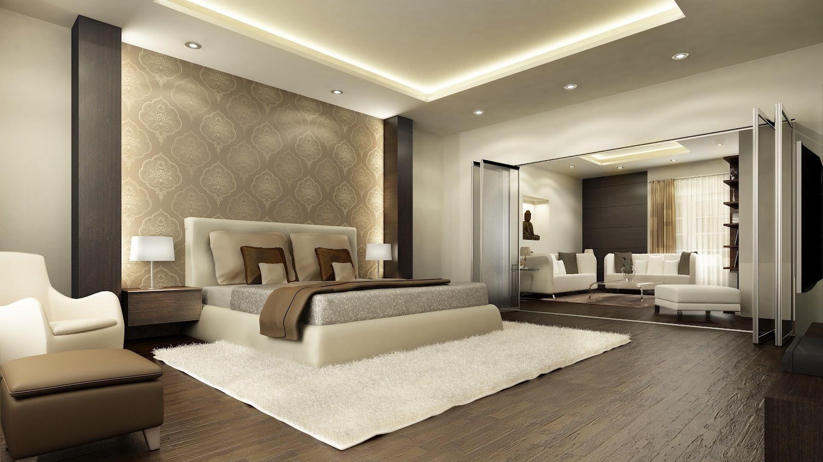 Modern Bedroom Interior : Sophisticated Penthouse Master Bedroom Interior Design  Ideas Apartment master bedroom interior design ideas