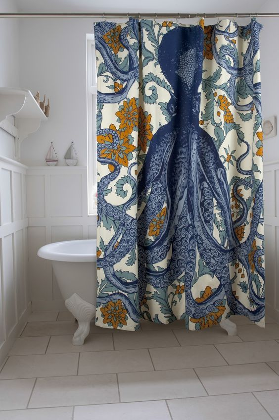 Unique shower curtains experience new darbylanefurniture master blue octopus shower curtain adds great style to the bathroom decor unique shower curtains gumiabroncs Images