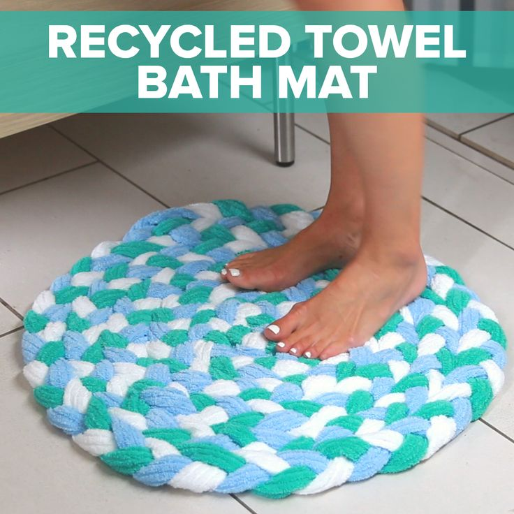 Master Braid old towels together to create this sophisticated bath mat!   Nifty braided towel rug