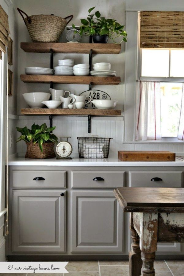 Master gray cabinets u0026 rustic open shelves looks great together shelving ideas for kitchen