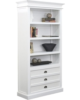 Master Halifax White Mahogany Bookcase with 3 Drawers white bookcase with drawers