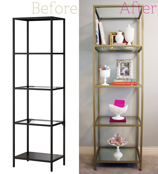 Master Ikea Vittsjo Shelving Unit - spray painted gold 3 Cans Rust-Oleum Metallic glass shelving units living room