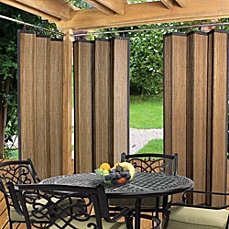 Master image of Easy Glide Indoor/Outdoor Bamboo Ring Top Window Curtain Panel in outdoor patio curtains