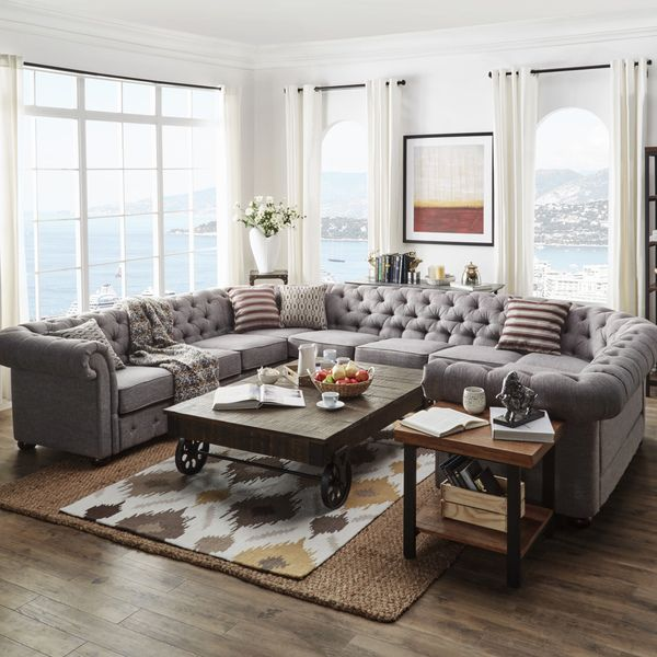 Master Knightsbridge Tufted Scroll Arm Chesterfield 10-seat U-shaped Sectional by  SIGNAL HILLS u shaped sectional sofa