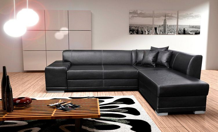 Master ... Leather Corner Sofa Bed ... black faux leather corner sofa