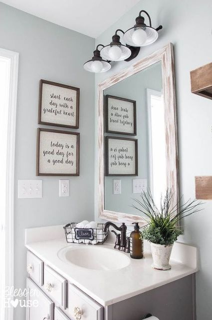 Master Make Your Own FARMHOUSE Bathroom...Yourself! bathroom wall decorations