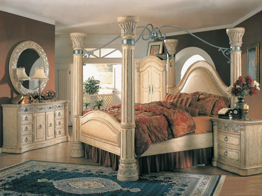 Master Margaret King Poster Canopy Bed 5 Piece Bedroom Set Antique White w/ king size canopy bedroom sets