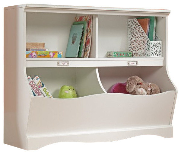 Master Sauder Pogo Bookcase Footboard in Soft White Finish traditional-kids- bookcases sauder pogo bookcase