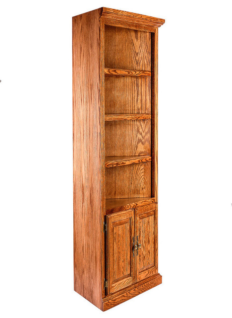 Master Traditional Oak Corner Bookcase, Lower Doors traditional-bookcases oak corner bookcase