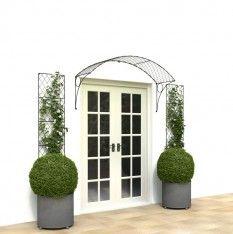 Modern 5-foot wide wirework door canopy from Garden Requisites. French door canopy  ideal patio door canopy