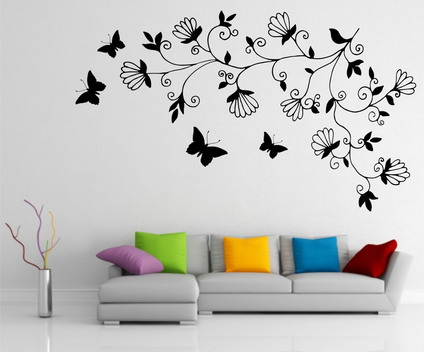 Modern Abstract Dark Tree Butterfly Wall Stickers Decals Art for for Small Modern wall paintings for drawing room