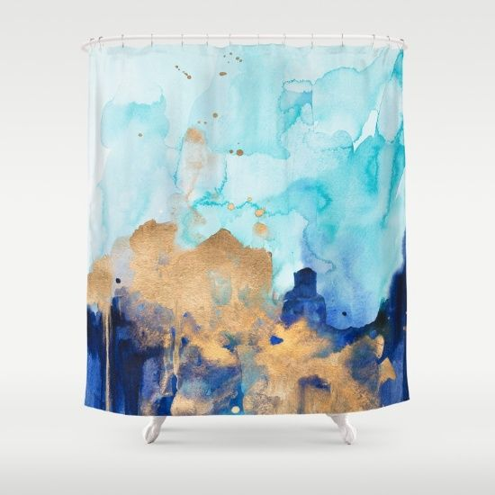 Modern Abstract watercolor Shower Curtain unique shower curtains