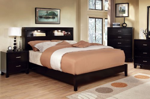 Modern Amazon.com: Furniture of America Metro Platform Bed with Bookcase Headboard  and Light queen bed with bookcase headboard