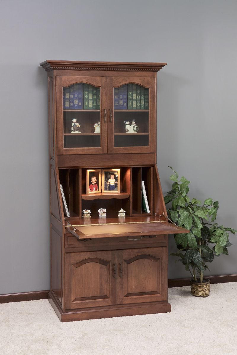 Modern Amish Executive Deluxe Secretary Desk with Hutch Top secretary desk with hutch