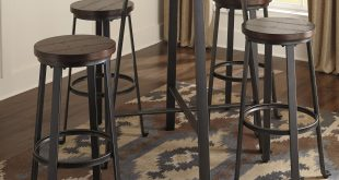 Modern Ashley Signature Design Challiman 5-Piece Round Bar Table Set - Item round pub table sets