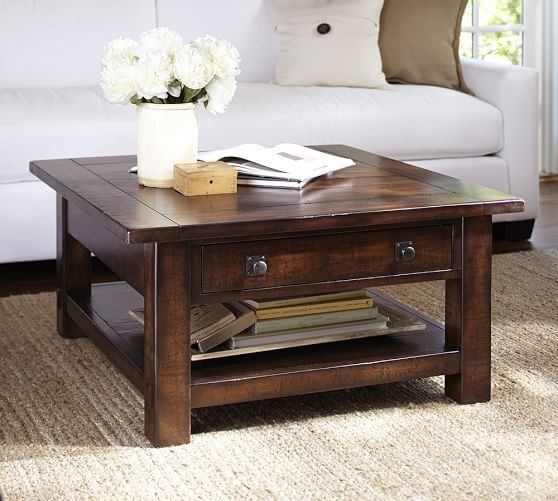 Modern Benchwright Square Coffee Table | Pottery Barn square living room table
