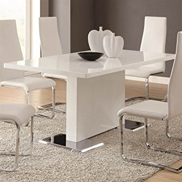Modern Coaster Home Furnishings Glossy White Contemporary Dining Table, 63 x 35.5 white contemporary dining room sets