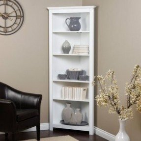 Modern Corner bookshelf to put up decor knick-knacks and organize her white corner bookcase