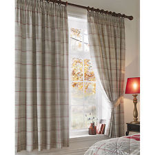 Modern Country Tartan Pencil Pleat Lined Curtains with Plaid Check Pattern - 66 tartan pencil pleat curtains
