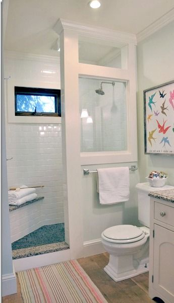 Modern doorless shower modern farmhouse cottage chic love this shower for a small small bathroom designs with shower