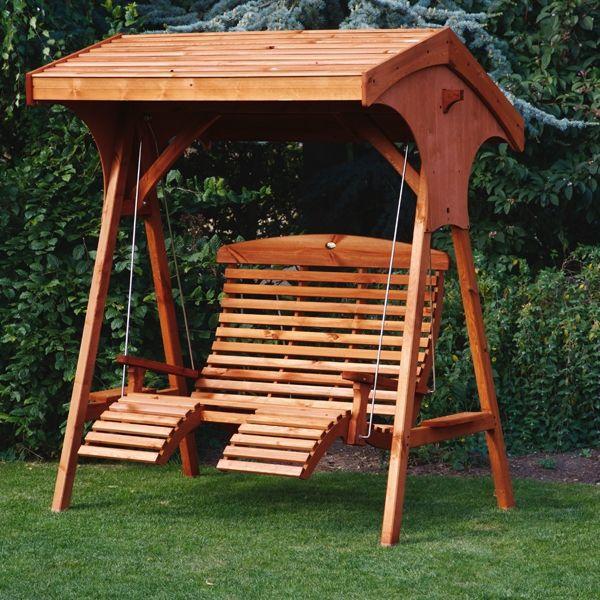 Modern Garden Swings | Roofed Comfort Wooden Garden Swing Seat UK Manufactured  (Teak wooden garden swings for adults