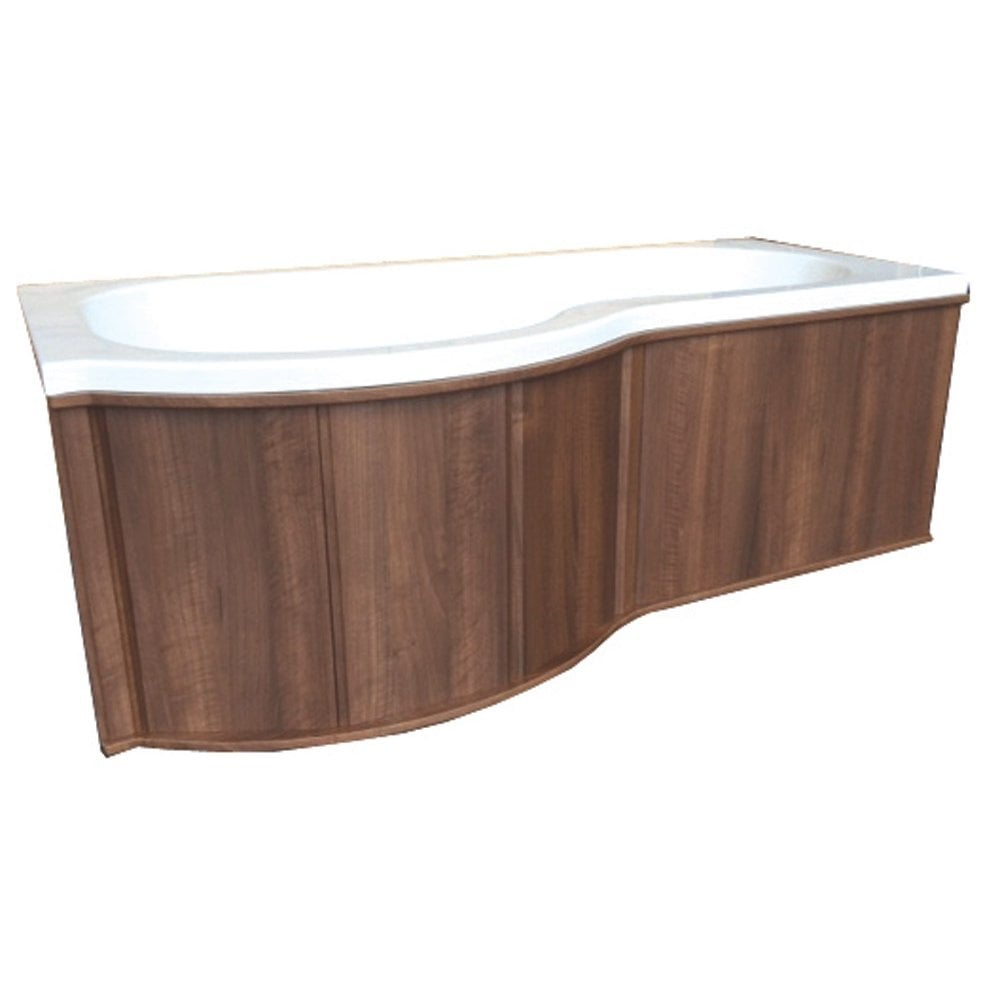 Modern Genesis u0027Pu0027 Shaped Shower Bath Wooden Front Panels ... p shaped bath panel