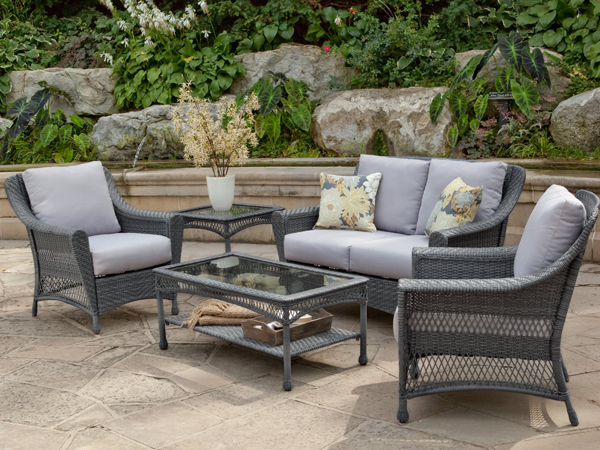 Modern Landscape Design Along Driveway_10057004 ~ Win a Wicker Furniture Set From grey resin wicker outdoor furniture
