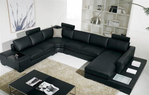 Beautiful Black Bonded Leather Sectional Sofa with Light modern-living-room modern leather sectional sofa