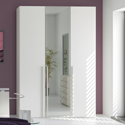 Modern Loft three door wardrobe white glass with mirror white mirrored wardrobe