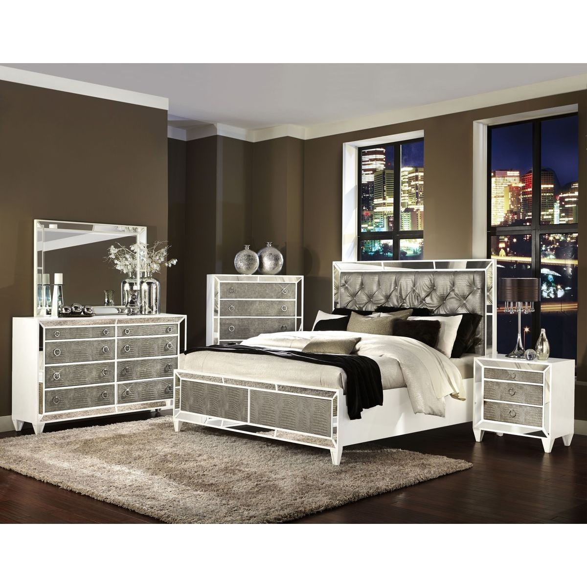 Modern Magnussen Monroe 4pc Queen Size Panel Bedroom Set queen size bedroom sets