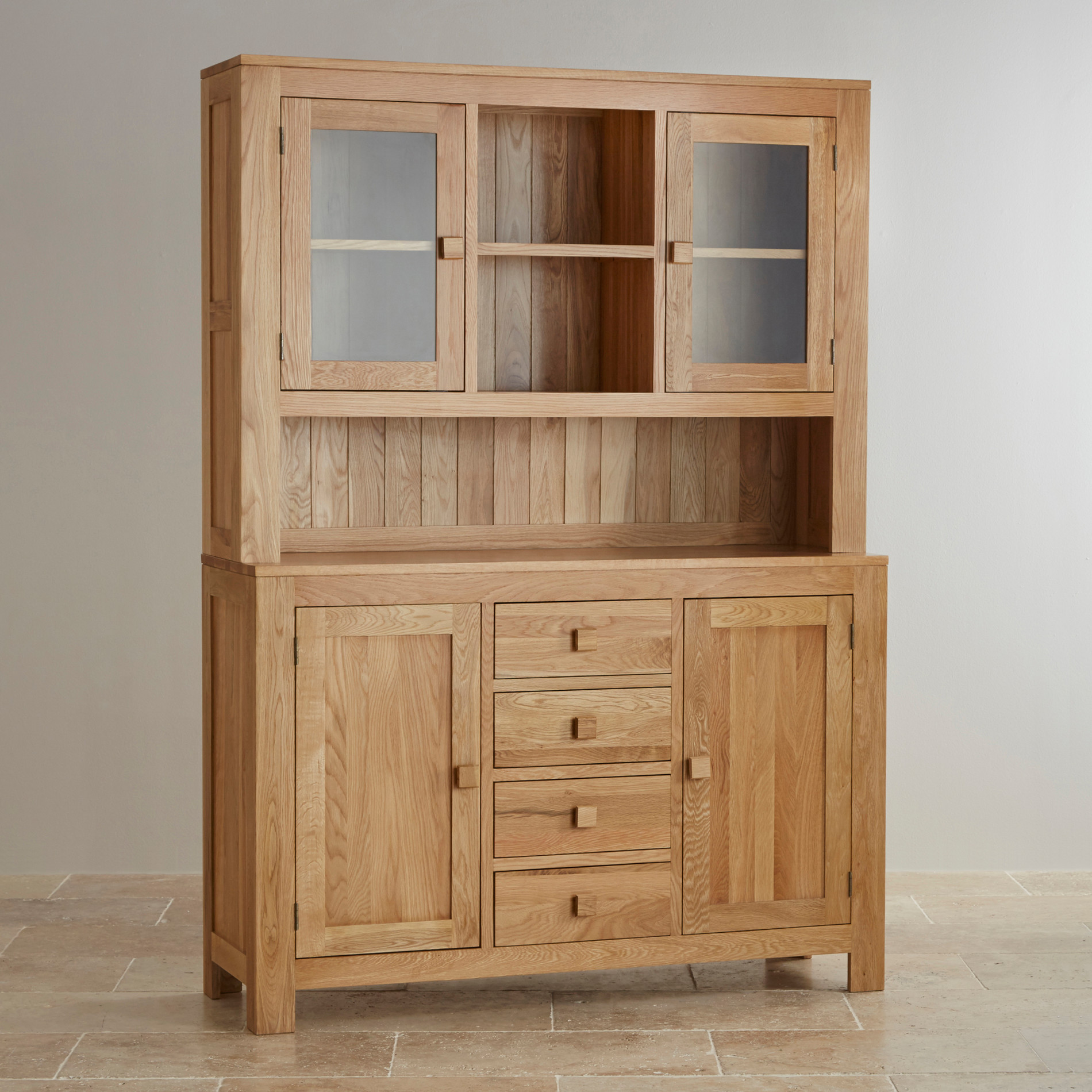 Modern Oakdale Natural Solid Oak Large Welsh Dresser large welsh dresser
