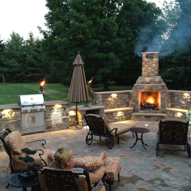 Modern Outdoor fireplace. Thinking a pizza oven instead of the bbq. OR a coal outdoor fireplace patio