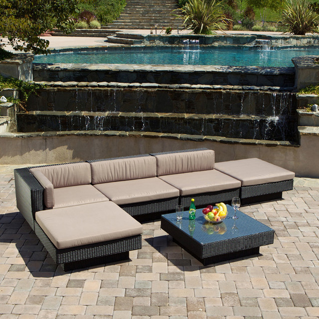 Modern Outdoor Patio Furniture 6pcs Wicker Luxury Sectional Sofa Seating Set  modern-landscape luxury wicker outdoor furniture