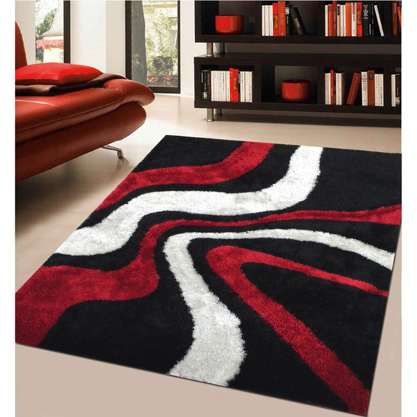 Elegant Modern Rug Addiction Hand Tufted Polyester Red And Black Shag Area Rug . Red  Black