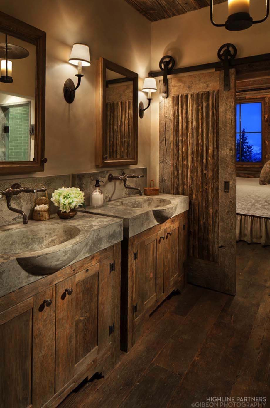 Modern Rustic Bathroom Décor with Concrete Sinks and Barn Door rustic bathroom decor ideas