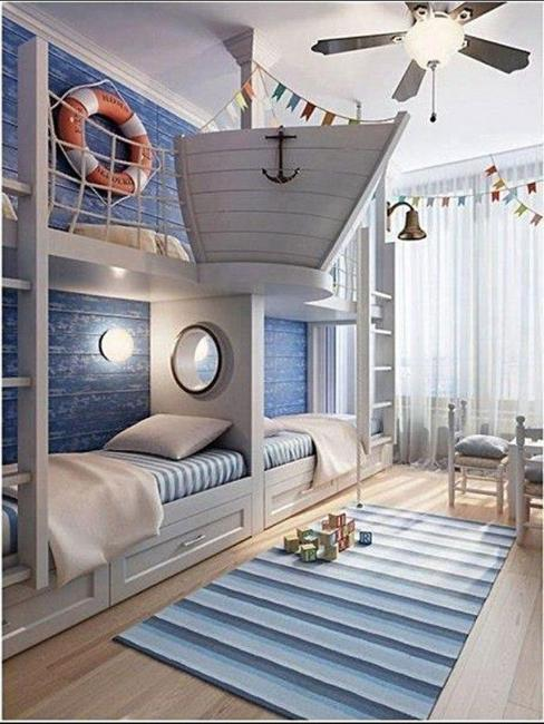 Modern Sea adventure inspired kids room design, white and blue colors and nautical cool kids rooms decorating ideas
