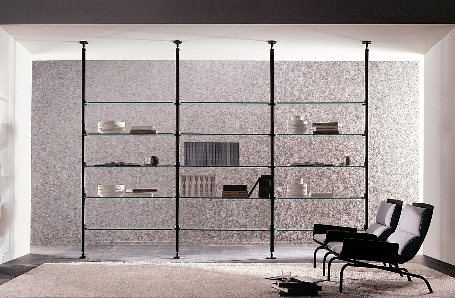 Modern Ultra Thin Clear Glass Shelves glass shelving units living room