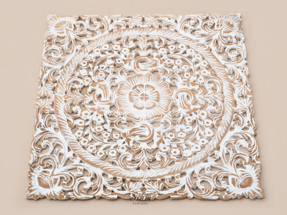 Modern White Wash Wood Carving Wall Art Panel. Wall by SiamSawadee wood carved wall art