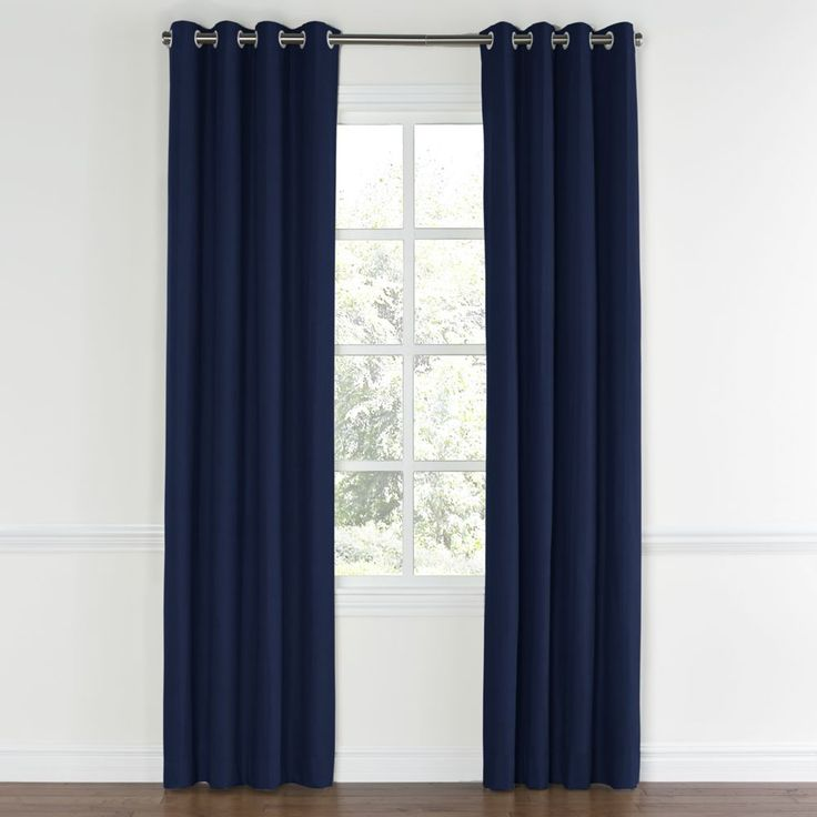 Cool Navy-Blue-Velvet-Grommet-Curtain-Front navy blue curtains