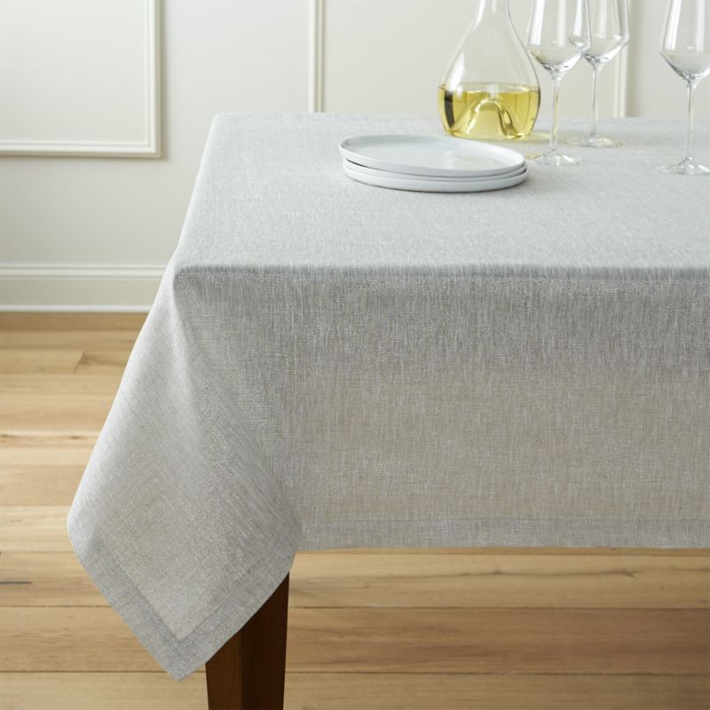 New Aurora Linen Tablecloth | Crate and Barrel white linen table cloths