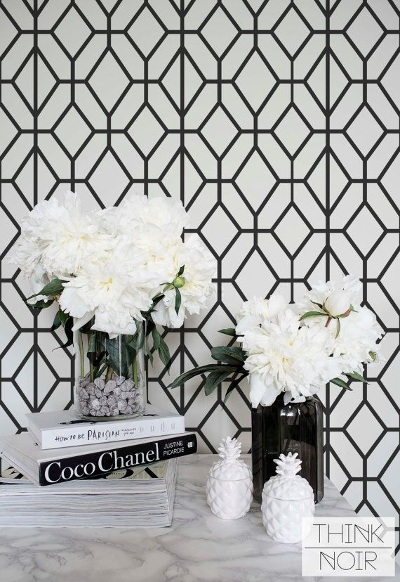 New Black and White Geometric Wallpaper, Geometric Pattern Removable Wallpaper,  Minimalistic Wall Mural black and white wallpaper designs for bedrooms